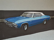 Car Drawings Prints - 1969 Chevelle Print by Paul Kuras