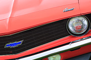 Muscle Cars Photos - 1969 Chevrolet Camaro Copo Replica Grille Emblems by Jill Reger