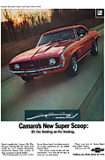 Chevrolet Camaro 396 Prints - 1969 Chevrolet Camaro New Super Scoop Print by Digital Repro Depot