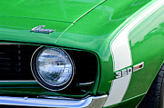 Muscle Car Photos - 1969 Chevrolet Camaro SS Headlight Emblems by Jill Reger