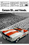 Chevrolet Camaro 396 Prints - 1969 Chevrolet Camaro SS Indy 500 Pace Car Ad Print by Digital Repro Depot
