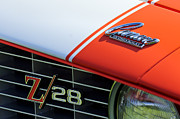Car Photo Posters - 1969 Chevrolet Camaro Z-28 Emblem Poster by Jill Reger