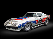 Muscle Metal Prints - 1969 Chevrolet Stars And Stripes L88 ZL-1 Corvette Metal Print by Sanely Great