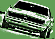 Chevrolet Camaro 396 Prints - 1969 Chevy Camaro SS - Green Print by Gordon Dean II