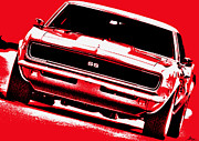 Chevrolet Camaro 396 Prints - 1969 Chevy Camaro SS - Red Print by Gordon Dean II