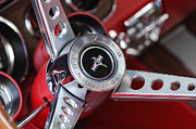 Red Photos Posters - 1969 Ford Mustang Mach 1 Steering Wheel Poster by Jill Reger