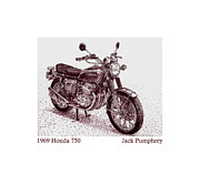 Pen And Ink Framed Prints Prints - 1969 Honda 750 Print by Jack Pumphrey