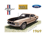 Ford Mustang Mixed Media Framed Prints - 1969 Mustang Mach 1 Framed Print by Jack Pumphrey