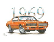 Muscle Drawings Metal Prints - 1969 Pontiac GTO Judge Metal Print by Shannon Watts