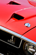 Jet Photo Framed Prints - 1969 Shelby GT500 Convertible 428 Cobra Jet Hood - Grille Emblem Framed Print by Jill Reger