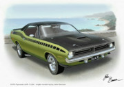 Olive Green Digital Art Posters - 1970 BARRACUDA AAR Cuda muscle car sketch rendering Poster by John Samsen