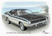 Muscle Car Prints - 1970 BARRACUDA AAR Cuda Plymouth muscle car sketch rendering Print by John Samsen