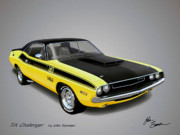 Road Runner Framed Prints - 1970 CHALLENGER T-A muscle car sketch rendering Framed Print by John Samsen