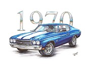 Chevrolet Drawings Metal Prints - 1970 Chevrolet Chevelle Super Sport Metal Print by Shannon Watts