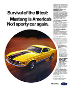 Yellow Cobra Prints - 1970 Ford Mustang Mach 1 Print by Digital Repro Depot