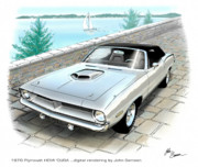 Runner Posters - 1970 HEMI CUDA Plymouth muscle car sketch rendering Poster by John Samsen