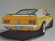 Exhaust Drawings Metal Prints - 1970 Mustang Fastback Metal Print by Paul Kuras