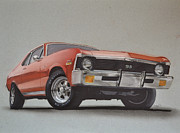 Car Drawings Framed Prints - 1970 Nova Framed Print by Paul Kuras