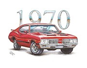 Chip Foose Art - 1970 Oldsmobile 442 by Shannon Watts