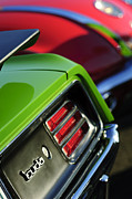 Muscle Photo Metal Prints - 1970 Plymouth Barracuda Cuda Taillight Emblem Metal Print by Jill Reger