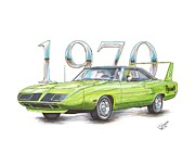 Runner Drawings Posters - 1970 Superbird Poster by Shannon Watts