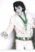 Singer Drawings - 1970 White Thin Fringe Suit by Rob De Vries