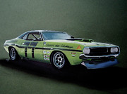 Challenger Drawings - 1970s Challenger Race car by Paul Kuras
