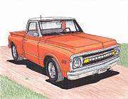 Transportation Drawings Originals - 1971 Chevy truck by Darrell Leonard