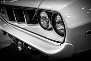 Mopar Photo Metal Prints - 1971 Plymouth Cuda Black and White Picture Metal Print by Paul Velgos