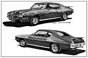 Pen And Ink Framed Prints Prints - 1971 Pontiac GTO Coming and Goin Print by Jack Pumphrey