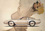 Show Mixed Media - 1972 BARRACUDA  A  Cuda Plymouth vintage styling design concept rendering sketch by John Samsen