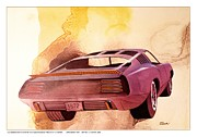 Muscle Car Mixed Media Framed Prints - 1972 BARRACUDA  B Cuda  Plymouth vintage styling design concept rendering Framed Print by John Samsen