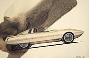 Concepts  Mixed Media - 1972 BARRACUDA  Cuda Plymouth vintage styling design concept rendering sketch by John Samsen