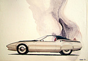 Concepts  Mixed Media - 1972 BARRACUDA  Cuda Plymouth vintage styling design concept sketch C69B by John Samsen