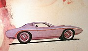 Vintage Car Drawings - 1972 BARRACUDA  J Cuda vintage styling design concept sketch by John Samsen