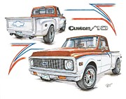 Chevy Drawings - 1972 Chevy C-10 Pickup by Shannon Watts