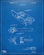 Chris Craft Prints - 1972 Chris Craft Boat Patent Blueprint Print by Nikki Marie Smith
