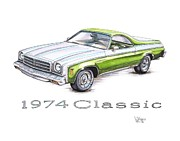 Chevrolet Drawings Metal Prints - 1974 El Camino Classic Metal Print by Shannon Watts