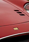 Car Photos Prints - 1974 Ferrari Dino 246GTS Hood Emblem Print by Jill Reger
