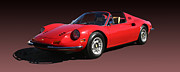 Brand Photo Posters - 1974 Ferrari Dino Poster by Jack Pumphrey
