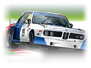 German Race Car Prints - 1975 imsa Bmw 3.5csl Print by Alain Jamar