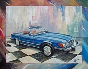 1976 Paintings - 1976 Mercedes-Benz 450 SL by Sinisa Saratlic