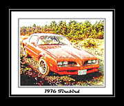 Prized Framed Prints - 1976 Red Firebird - Classic Car  Framed Print by Barbara Griffin