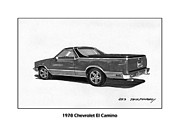 Chevrolet Drawings Metal Prints - 1978 Chevrolet El Camino Metal Print by Jack Pumphrey