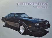 Car Drawings Framed Prints - 1978 Pontiac Trans Am Framed Print by Paul Kuras