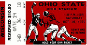 Buckeyes Framed Prints - 1979 Ohio State vs Wisconsin Football Ticket Framed Print by David Patterson