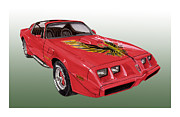 Lake Drawings Framed Prints - 1979 Pontiac Firebird Framed Print by Jack Pumphrey