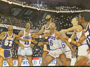 Dr. J Paintings - 1980 NBA Championship by Jerald Vallan