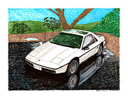First Division Paintings - 1985 Pontiac Fiero reflections by Jack Pumphrey
