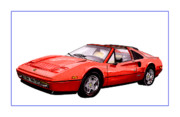 Sports Cars Paintings - 1986 Ferrari 328 GTS by Jack Pumphrey